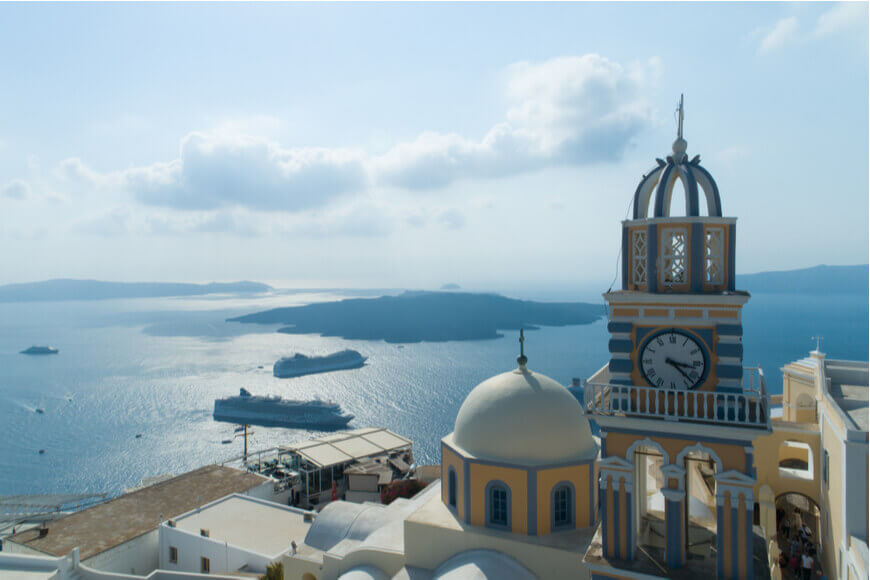Explore the Famous Blue-Domed Churches in Santorini - Catholic Cathedral - Kamari Tours Excursions